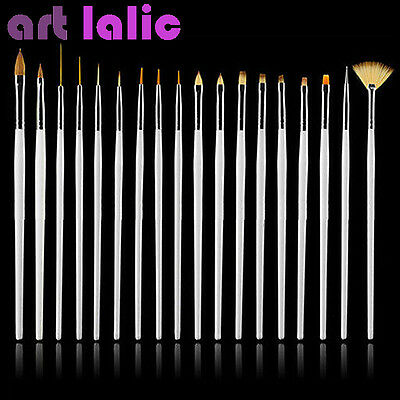 15 UV GEL & Acrylic Nail Art Design Dotting Painting Pen Polish Brush Set WHITE