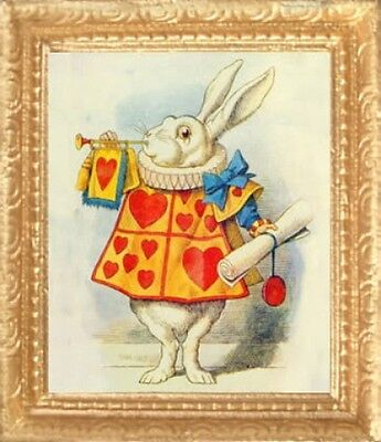 FAST DELIVERY MADE IN AMERICA ALICE-WONDERLAND WHITE RABBIT Dollhouse Picture