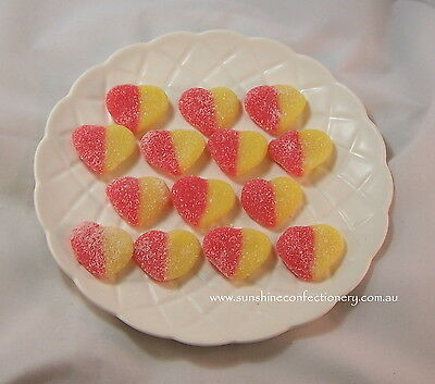 Gluten Free Sour Peach Heart Lollies  -  2.5Kg  -  Imported