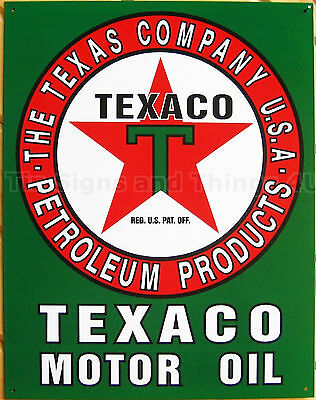Texaco Motor Oil TIN SIGN vtg garage & old gas station pump metal wall decor 588