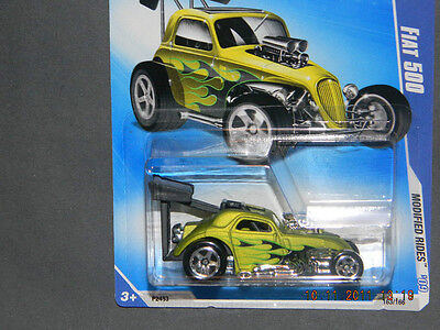 HW HOT WHEELS 2009 MODIFIED RIDES #7/10 FIAT DRAGSTER HOTWHEELS LIME GREEN VHTF