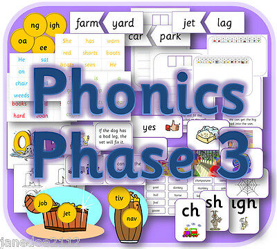 LETTERS and SOUNDS PHASE 3  phonics primary teaching resources KS1 EYFS on CD