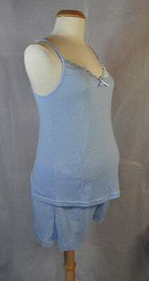 NEW 2Pc Blue Maternity Pajama Camisole Tank Top & Shorts Sleepwear Set - S M