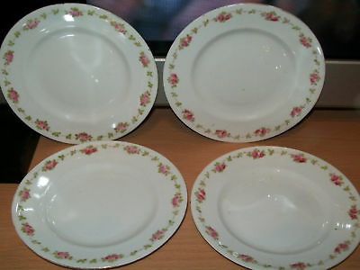 4  Plates Crown Staffordshire England Shabby Chic Roses