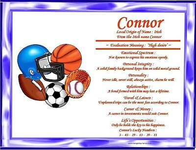 Sports Theme Personalized First Name Meaning Room Wall Print