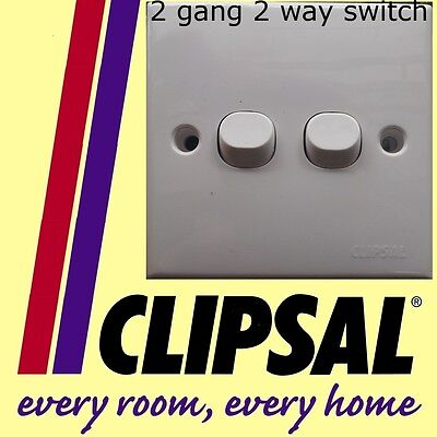 Schneider Clipsal 2 gang 2 way switch white plastic staircase lighting NEW DIY