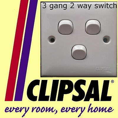 Schneider Clipsal 3 gang 2 way switch white plastic staircase lighting NEW DIY