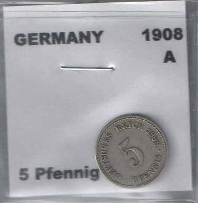 1908 A German 5 Pfennig Coin G-VG