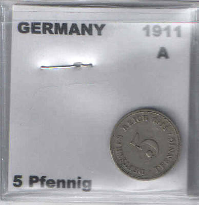 1911 A German 5 Pfennig Coin G-VG