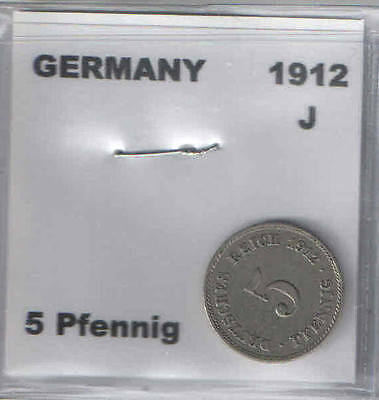 1912 J German 5 Pfennig Coin G-VG