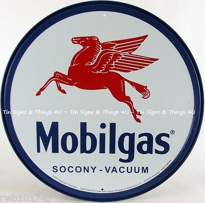 Mobilgas Pegasus ROUND TIN SIGN mobil vintage garage gas oil ad metal decor 610
