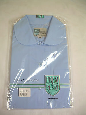 2 Pack Perm-A-Pleat Size 16 :girls School Blouse Short Sleeve: Sky