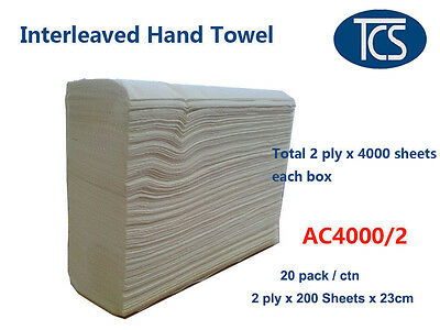 TCS 4000 x 2 Ply Sheets Interleave Hand Paper Towels Refills - CHEAP!