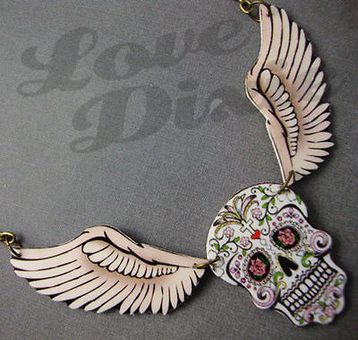 fb2baed748291 Sugar Skull Day of the Dead Wings Tattoo Necklace Kitsch Rockabilly  Psychobilly