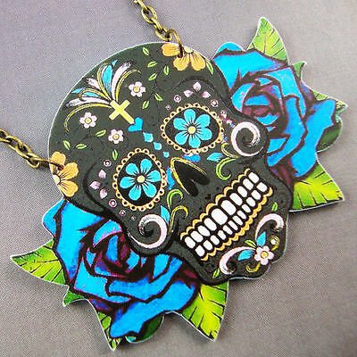 Four Colours Rockabilly Day of the Dead Steampunk Sugar Skulls Acrylic Necklace