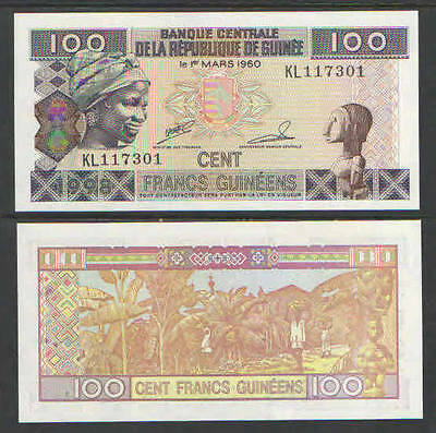 1998 GUINEA 100 Francs Cat # P35 UNC BANANA HARVEST