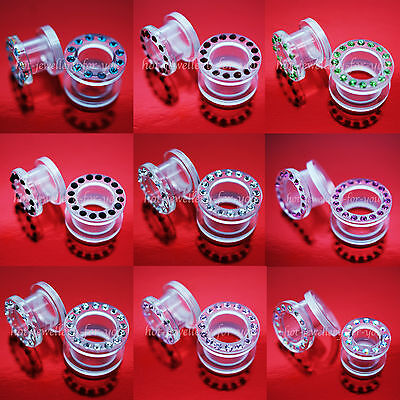 Acrylic Screw Back Flesh Tunnel Ear Plug With Acrylic Rhinestones Diamond Gems