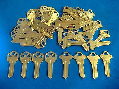50 Pc Locksmith Key Blank Asst Kw1 & Sc1 Fits Kwikset & Schlage Brass Finish Usa