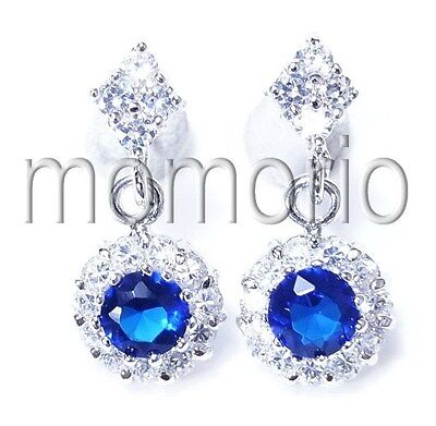 18KGP Dangle round sun cocktail blue sapphire cz studs crystal ear ring flower