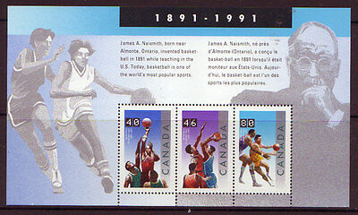 Canada 1991 Basketball, Naismith Miniature Sheet Unmounted Mint, Mnh