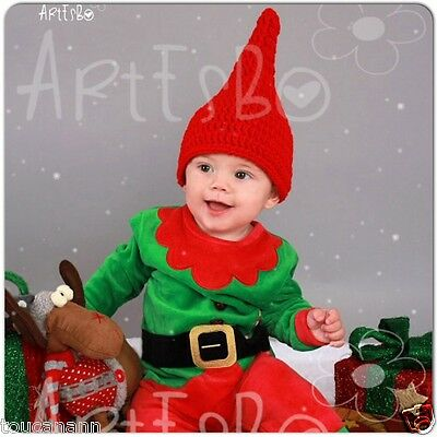 """Crochet Baby Red Gnome Hat ~ 18"""" Gnome Hat ~ Great Photo Prop"""