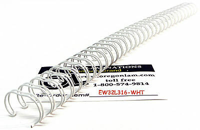 """WHITE Wire-O Binding Spines 3/16"""" diameter 3:1 pitch Twin Loop Double-O (100 pc)"""