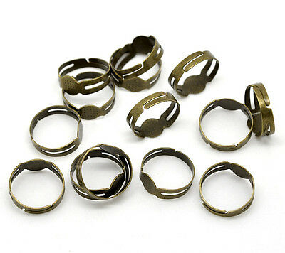 20 Rings  Antique Bronze Adjustable Ring Bases Ring Blanks with 8mm Flat Pad