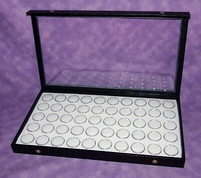 Clear Top Jewelry Display Case With 50 Gem Jars White