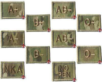 Blood Group Patch Flash A Neg B Plus Ab + Pos O - Multicam Mtp No Pen Nka Velcro
