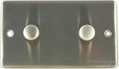 G&H CSS17 Brushed Steel 2 Gang 1 or 2 Way 40-400W Dimmer Switch Twin Double P...