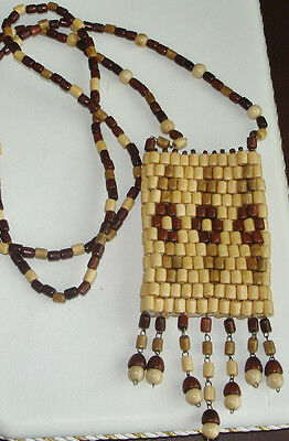 Three Flowers~Natural Wood & Color~Exquisite Handcrafted ~Necklace Bag