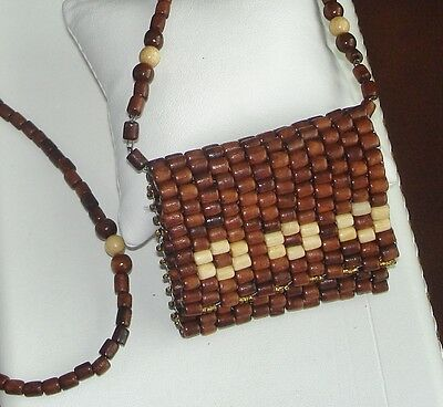 Three Flowers~Natural Wood & Color~Exquisite Handcrafted ~Necklace Purse