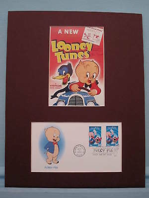Saluting Porky Pig & First Day Cover of his own stamp