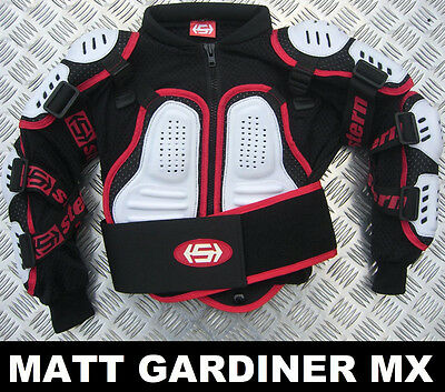 KIDS STERN MOTOCROSS BODY ARMOUR PROTECTION WHITE bionic suit jacket quad