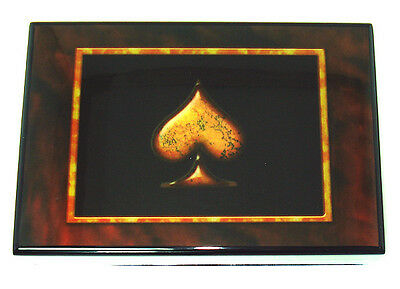 Card Case Box with decorative Spade Holds 2 Decks Of Cards Great Gift FREE Ship*
