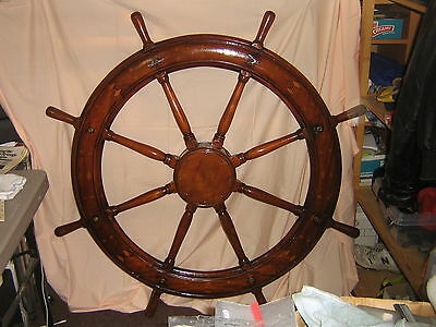 """Antique Solid Hand Made Inlaid Gorgous Huge Sailboat 48"""" Helm Wheel-one ofa kind"""
