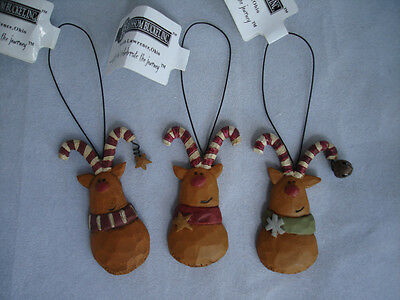 Mini Whimsical Small Reindeer Ornaments Blossom Bucket 3pc 59612 Christmas NEW
