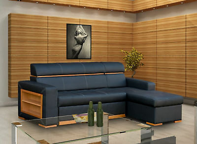 Modern New Black Faux Leather Corner Sofa Becky - Chep from PRODUCENT - Becky