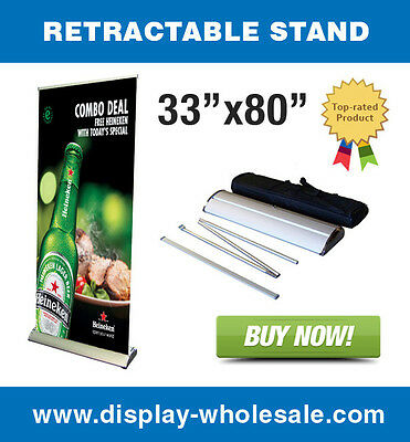 "33"" Premium Retractable Banner Stand"