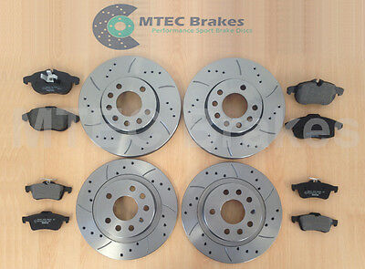 VECTRA C 1.9 CDti DRILLED GROOVED MTEC BRAKE DISCS Front Rear & Pads
