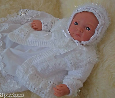 Baby Knitting Pattern TO KNIT Girls or Reborn Dolls Matinee Coat, Bonnet & Shoes