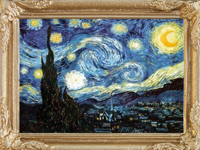 Van Gogh STARRY NIGHT Dollhouse Picture - Framed Miniature Art - MADE IN AMERICA
