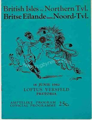 BRITISH LIONS 1962 v NORTHERN TRANSVAAL RUGBY PROGRAMME