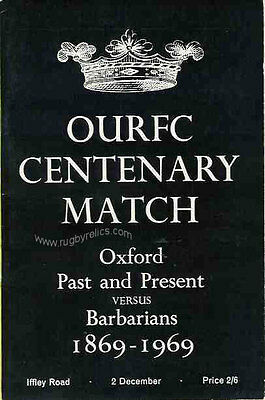 OXFORD UNIVERSITY PAST & PRESENT v BARBARIANS 1969 RUGBY PROGRAMME