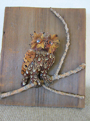 Hand Made, Feather Sculpture Of Small Mounted BARN OWL