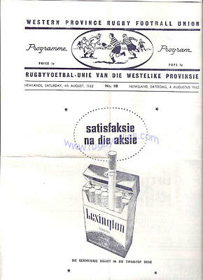 BRITISH LIONS 1962 3rd TEST v SOUTH AFRICA  RUGBY PROG WESTERN PROVINCE ISSUE