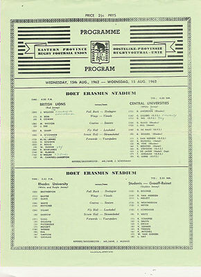 BRITISH LIONS 1962 v CENTRAL UNIVERSITIES  RUGBY PROGRAMME SINGLE SHEET