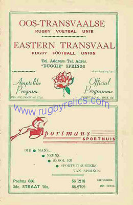 BRITISH LIONS 1962 v EASTERN TRANSVAAL RUGBY PROGRAMME