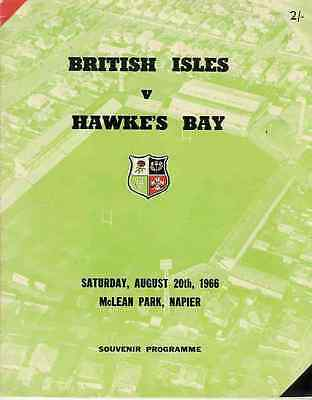 BRITISH LIONS 1966 v HAWKES BAY RUGBY PROGRAMME