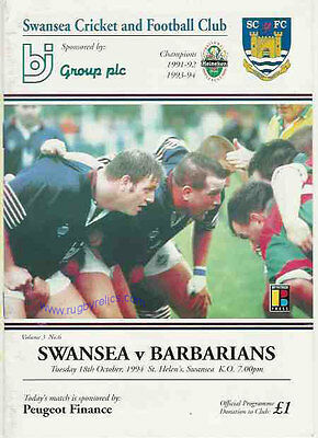 SWANSEA v BARBARIANS 18 Oct 1994 RUGBY PROGRAMME